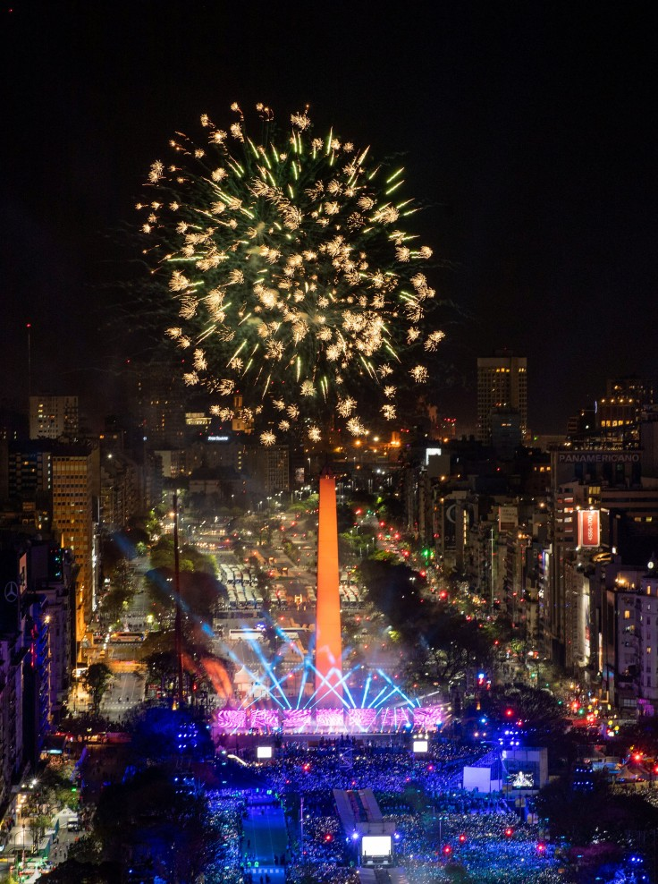 Aerial view of the Avenida 9 de Julio and the Obelisk of Buenos Aires with fireworks at the start of the Opening Ceremony of The Youth Olympic Games, Buenos Aires